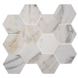 Euro Tile Stone Calacatta Hexagon Heavy Vein