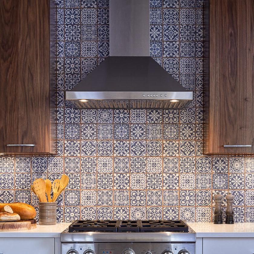Blue Patterned Mosaic Kitchen Astro Design Centre