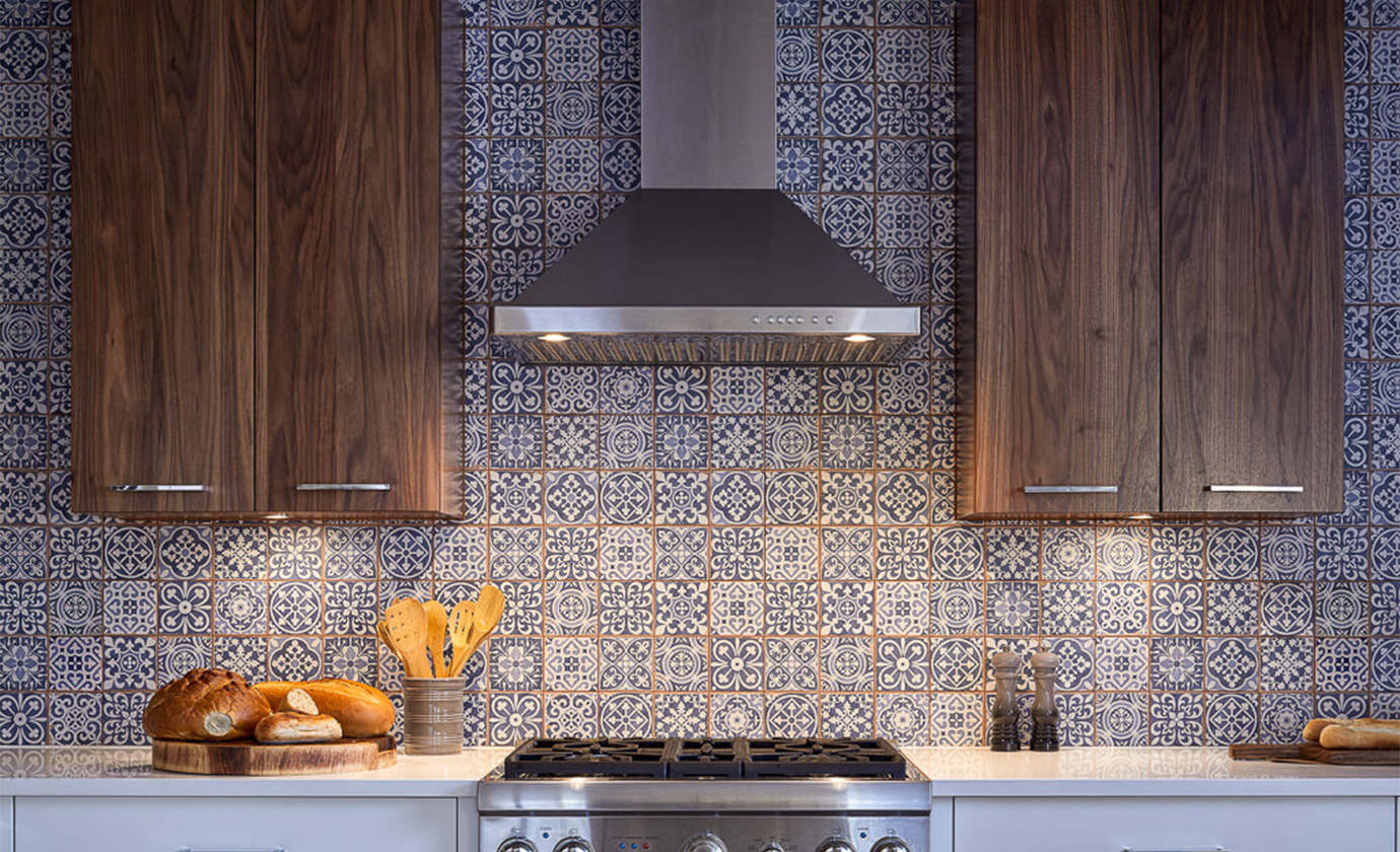 Blue Patterned Mosaic Kitchen Astro Design Centre
