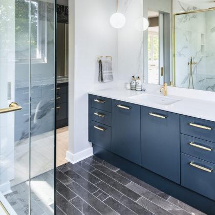 Marble Bathroom with Blue Vanity Fiorenza O'Keefe