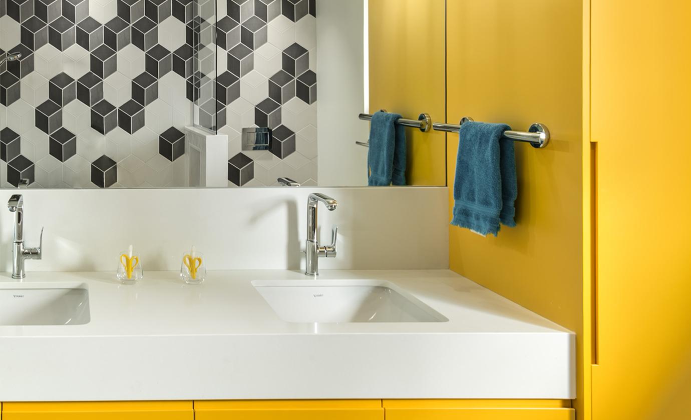 Yellow Bathroom with Hexagon Tile O'Keefe Fiorenza Design Group