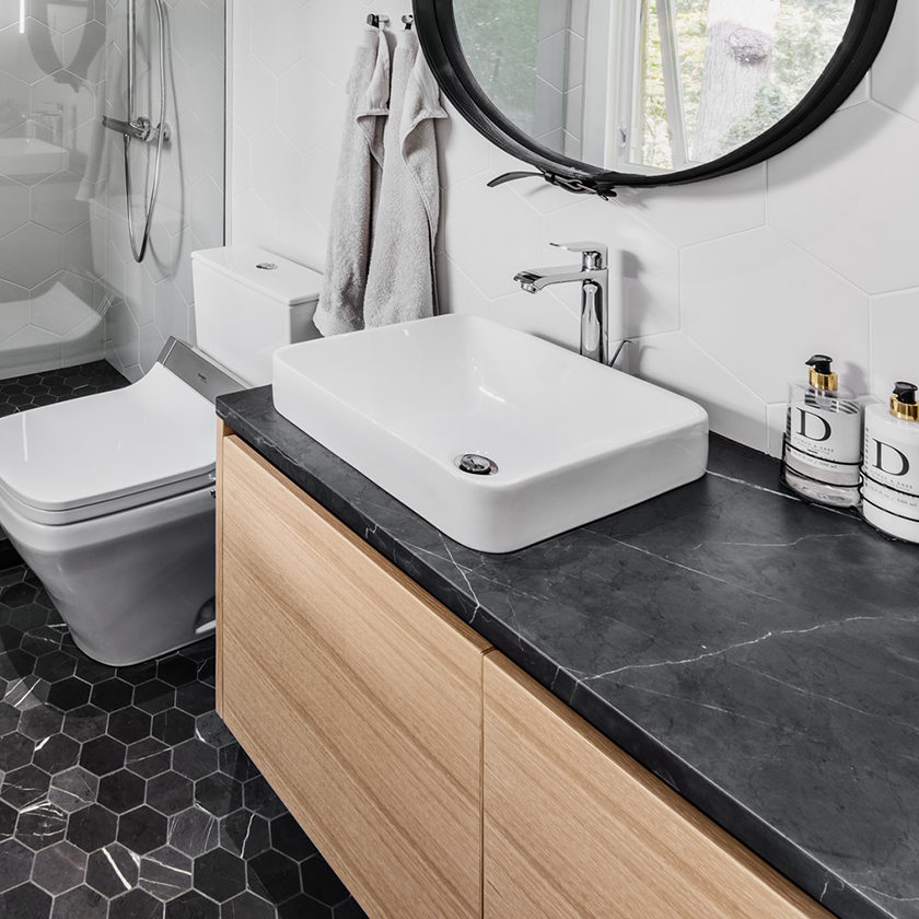Hexagon Floor and Wall Bathroom O'Keefe Fiorenza Design Group