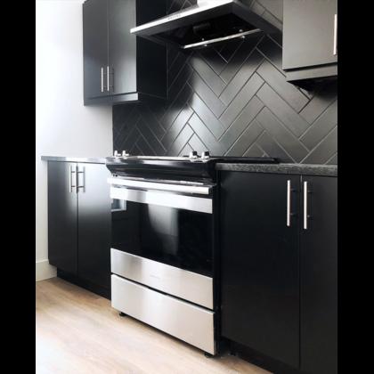 Herringbone Subway Tile Backsplash Kitchen Koda Interiors