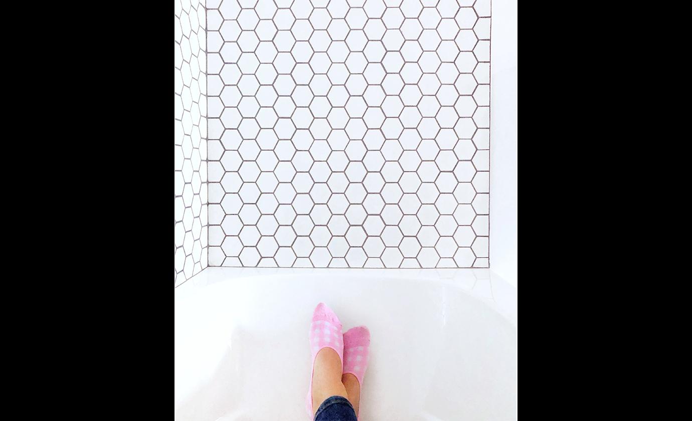 Hexagon Mosaic Bathtub Surround Tile Koda Interiors