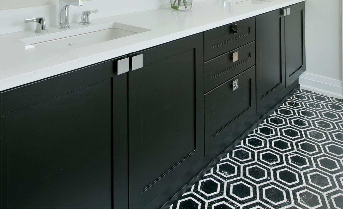 Marble Hexagon Mosaic Bathroom Floor