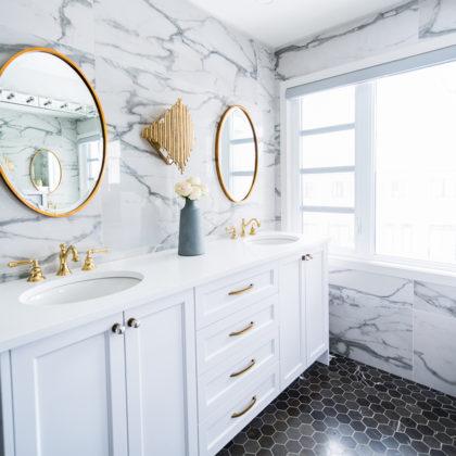 Hexagon Floor Marble Wall Bathroom